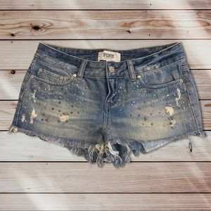 Victoria Secret Pink Studded Denim Shorts Sz 2